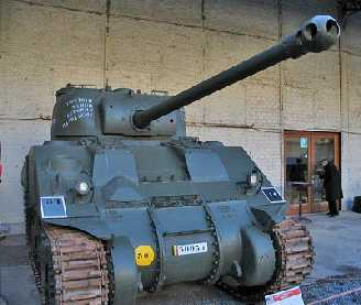 Front view of a Sherman Firefly. Please note the length of the 17 pdr compared to the normal 75mm gun and the distinctive muzzle break.