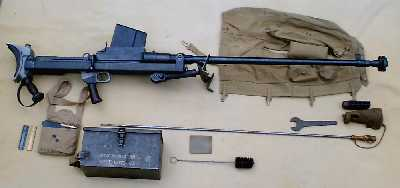 Boys Anti-tank rifle with all its accessories, with magazine fitted and dust/mud cover removed.