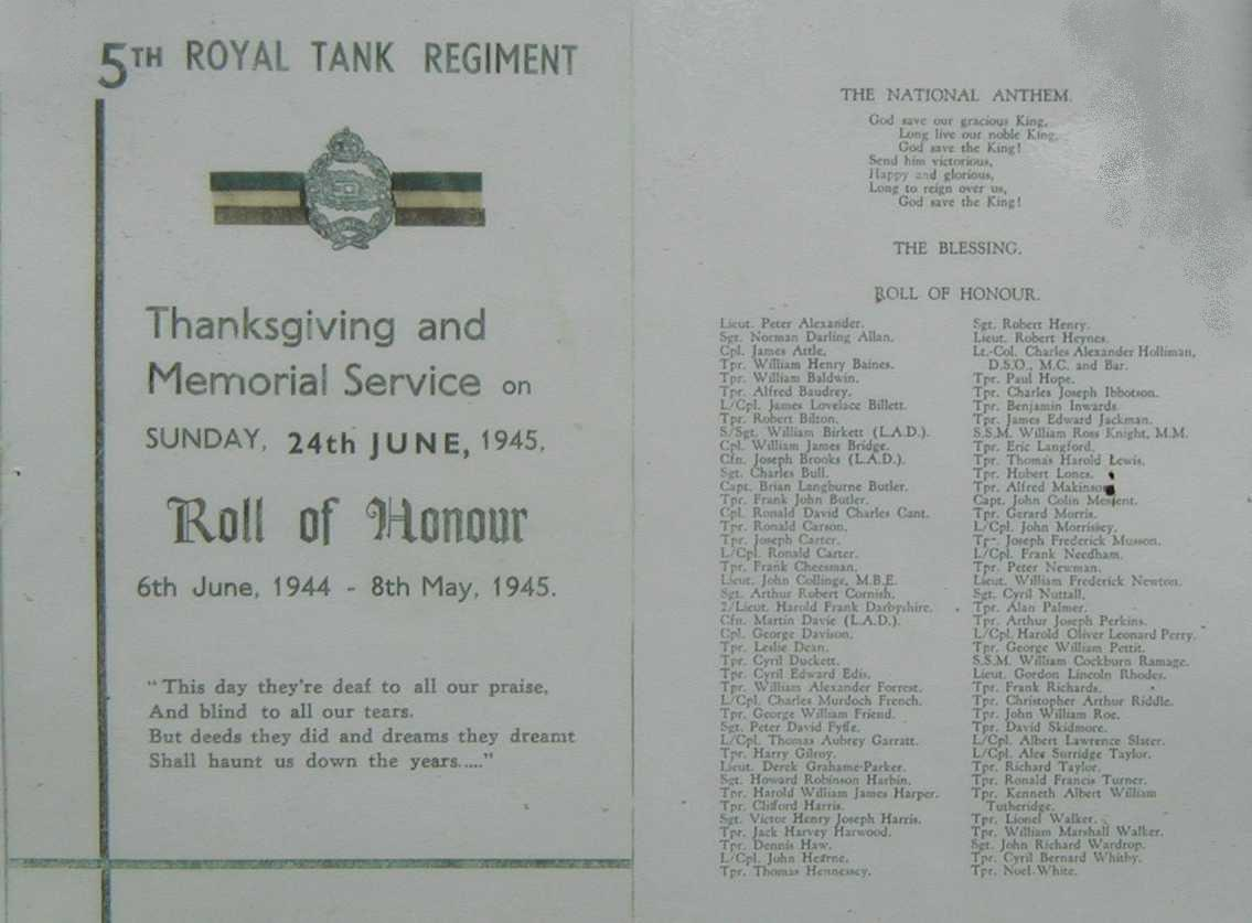 5th RTR Memorial Service - 24th June 1945