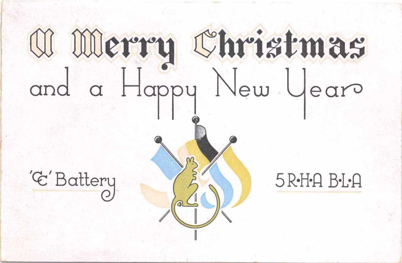 Front of Christmas Card from CC Battery, 5th RHA, 1944. BLA stands for British Liberation Army