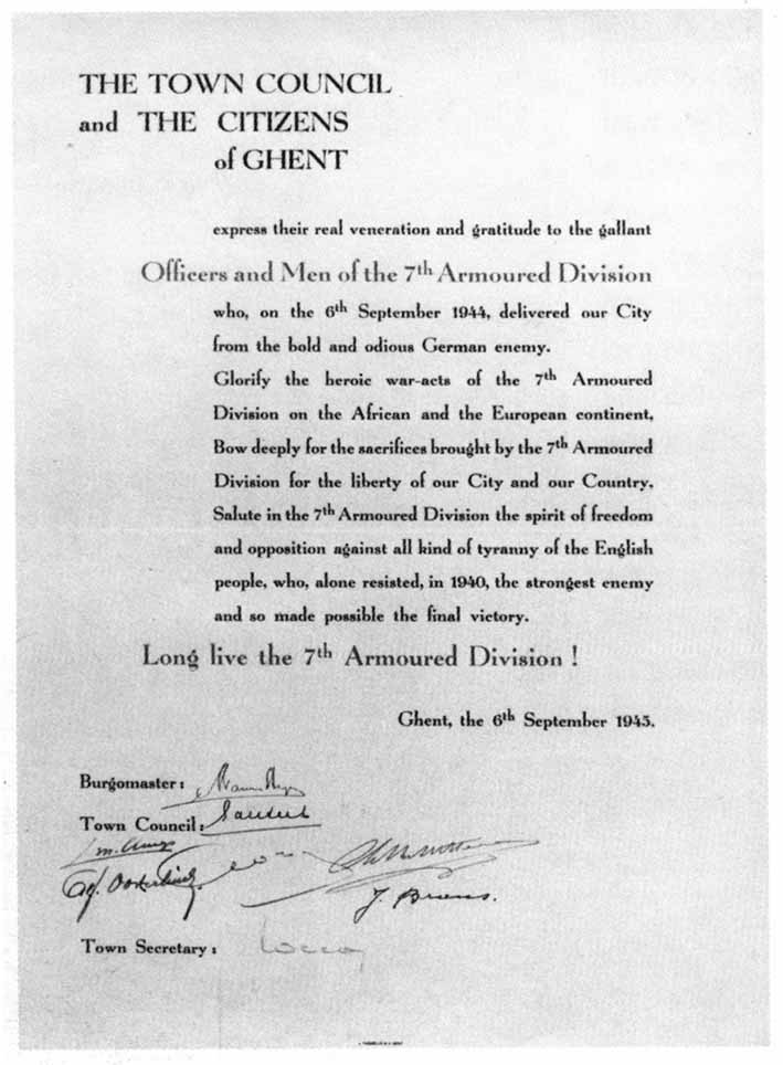 Letter to 7th Armoured Division from the Town of Ghent