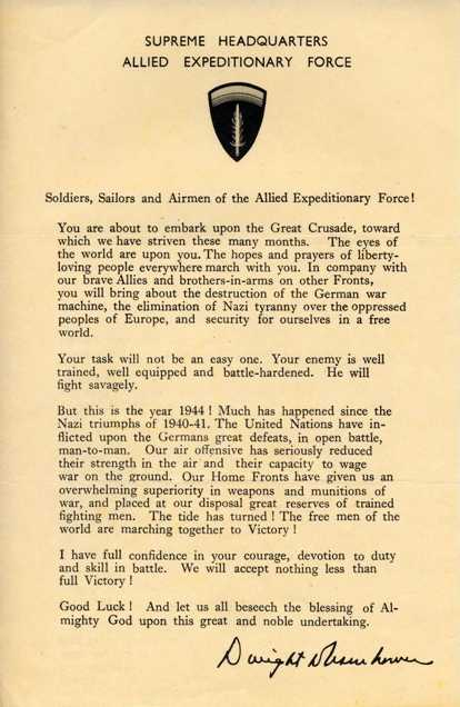 Message to the troops from Eisenhower