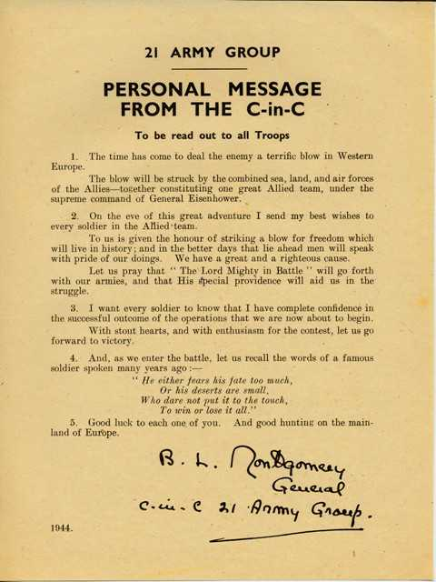 Message to the troops from Montgomery