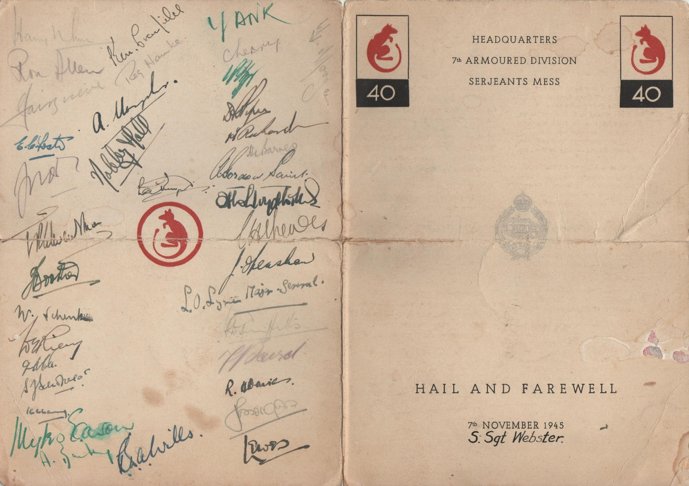 Menu card is signed by all there including the Divisional Commander Major-General Lyne.