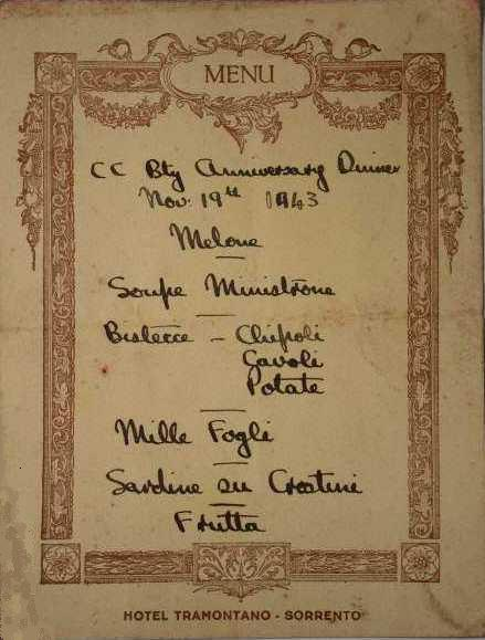 CC Battery, 5 RHA, Anniversary Dinner Menu, 19th November 1943