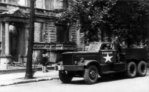 Diamond T vehicle of the 7th Armoured Division REME in Berlin. Picture courtesy of Norman Whyte.
