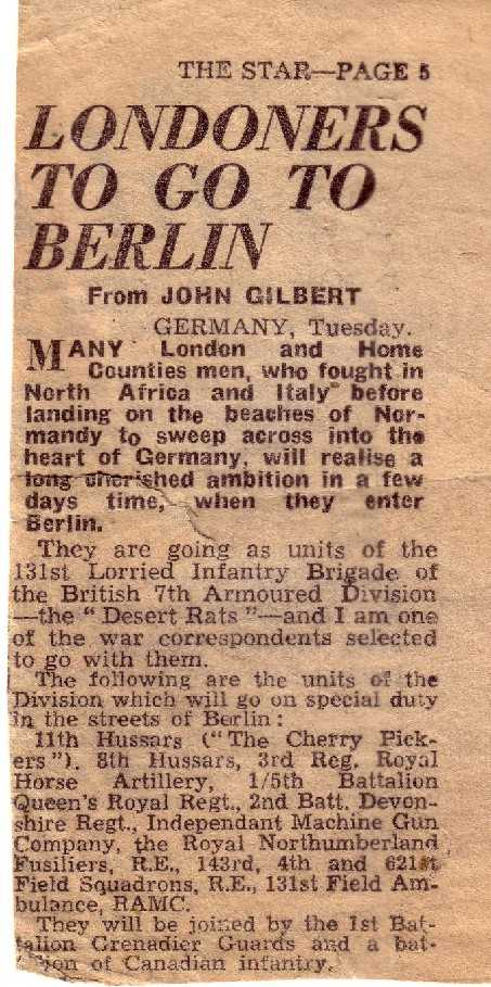 Newpaper clipping about the Division in Berlin. Courtesy of Norman Whyte.