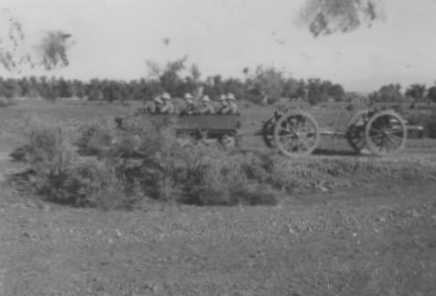 Dragon Tractor towing an 18-pdr and limber with wooden wheels, of World War One vintage.  Photo from Tim McCaughern (4 RHA)  courtesy of Dan McCaughern.
