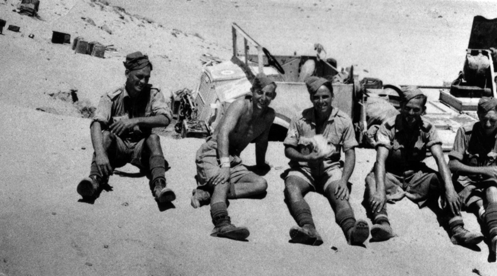 2 pdr Portee Crew resting by their vehicle