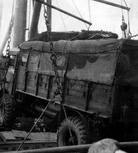 Loading a HQ truck ready for Normandy.