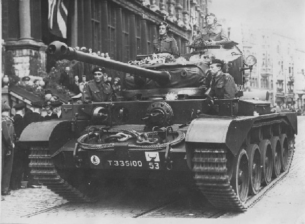Comet Tank of C Squadron, 5th RTR in Ghent during the celebration of the liberation in Sept 1945. Photo Gordon Johnson, courtesy of his daughter Gillian.