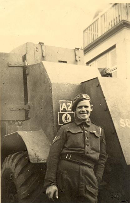 The A2 Ammunition Lorry from D Troop, CC Battery, 5 RHA, complete with armour. This is in the background of the above right Troop photo.  Photo Leonard Smith and courtesy of his family.