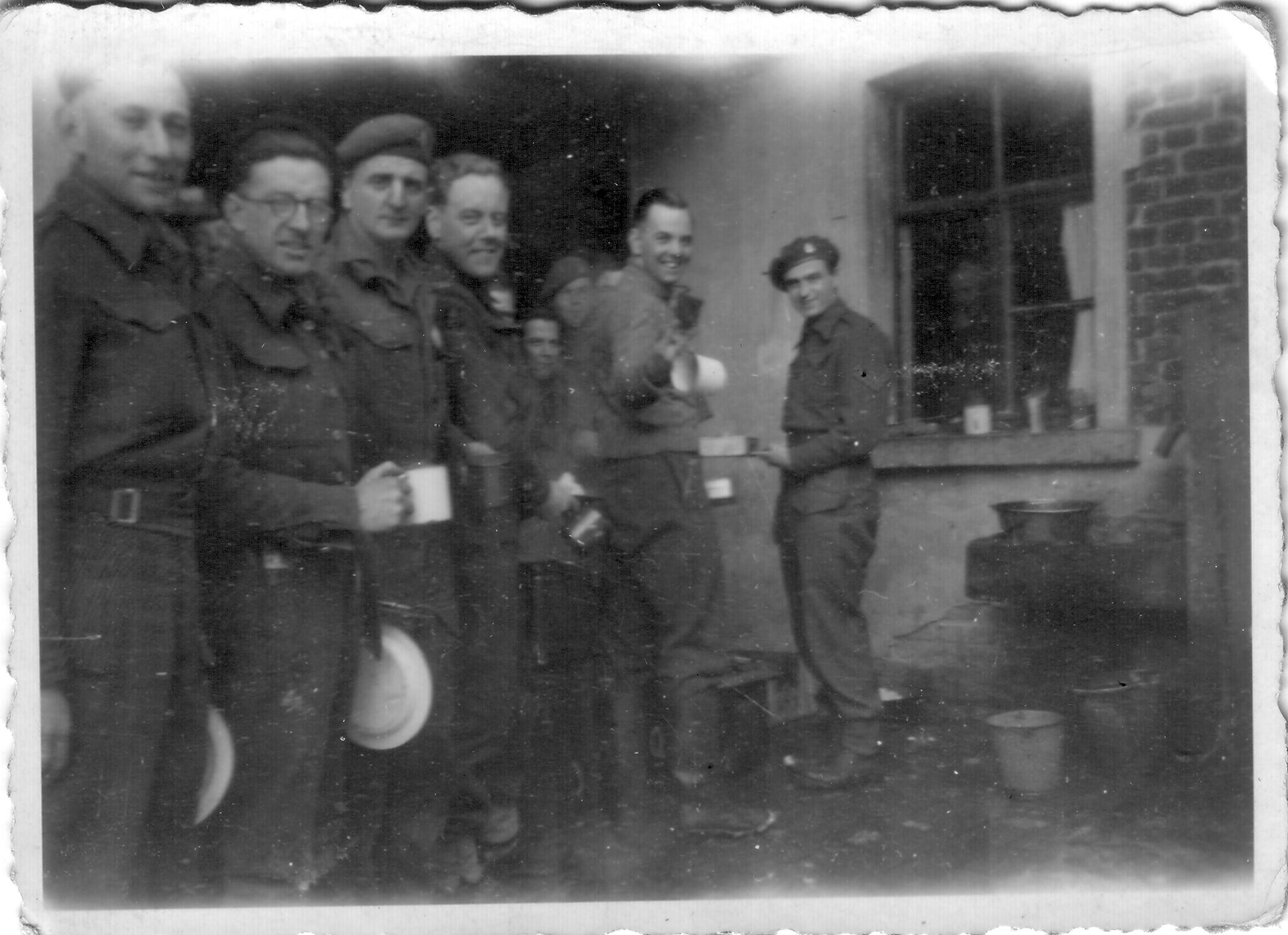 CC Bty Mess Queue. My father is fourth from the left, so this is probably Battery HQ.