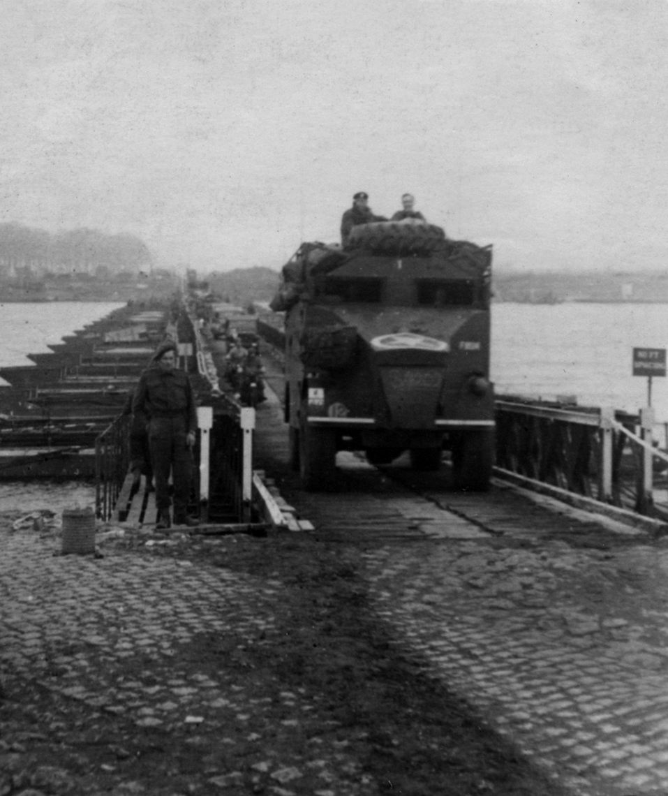 One of the Division's command vehicles crossing ther bridge. I believe this is ACV1. ACV1 was described as 'G' - controlling the hour by hour direction of battle tactics