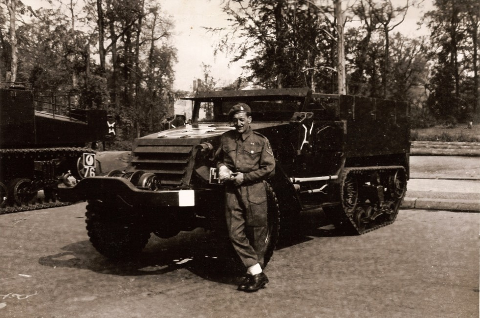 The Troop Leader's Half Track from 'E/F' Troop, K Battery, 5 RHA, (as denoted by the TLC marking)  before the Berlin Victory Parade. Courtesy of 'Jock' (Rob) Lerche (K Bty) and Barry Forbes.