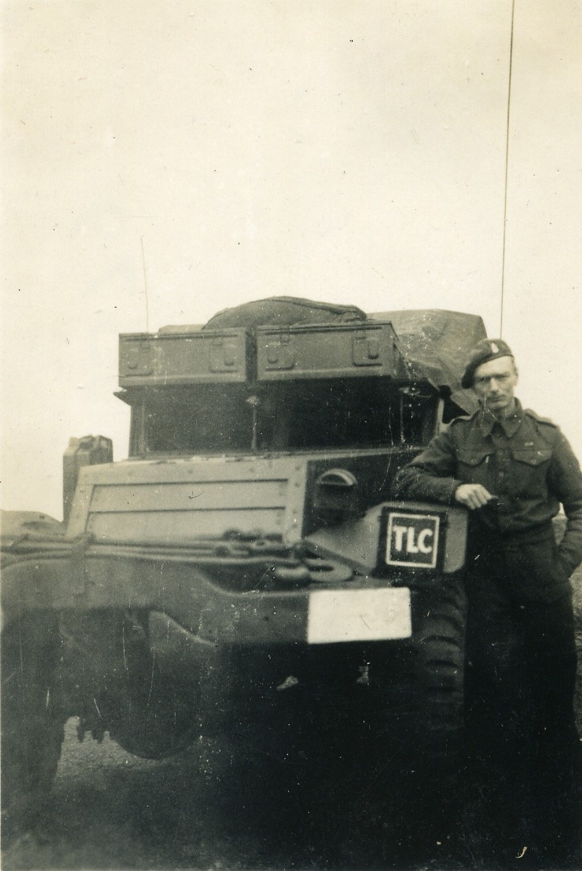 The Troop Leader's Half Track from 'D' Troop, K Battery, 5 RHA, (as denoted by the TLC markings) near St Joost in early 1945.  Courtesy of James and David Allen.