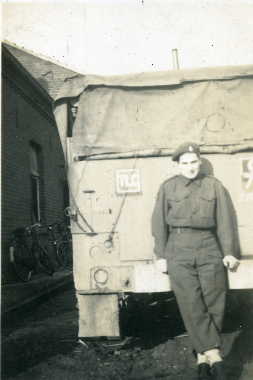 The rear of the Troop Leader's Half Track from 'D' Troop, K Battery, 5 RHA, (as denoted by the TLC markings) near St Joost in early 1945.  Courtesy of James and David Allen.