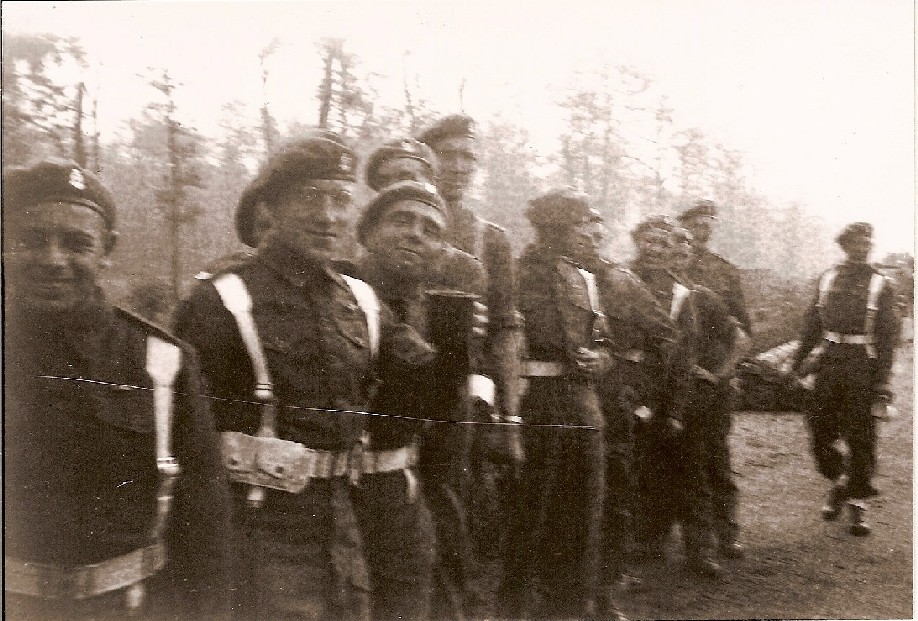 Men of K Battery, 5 RHA, before the Berlin Victory Parade. Courtesy of 'Jock' (Rob) Lerche (K Bty) and Barry Forbes.