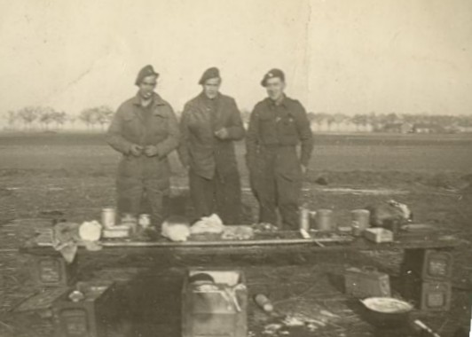 Men of CC Battery, 5 RHA enjoying a 'picnic' probably in 1945.  Photo Leonard Smith and courtesy of his family.