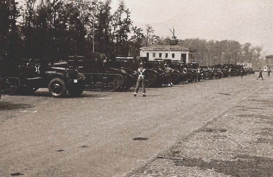Sextons and Half-tracks probably from K Battery, 5 RHA, before the Berlin Victory Parade. Courtesy of 'Jock' (Rob) Lerche (K Bty) and Barry Forbes.