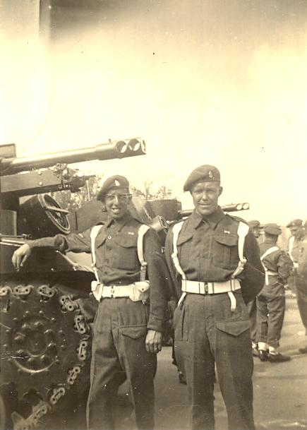 Two of the same crew in a less formal pose before the Victory Parade in July 1945.  Photo Leonard Smith and courtesy of his family.