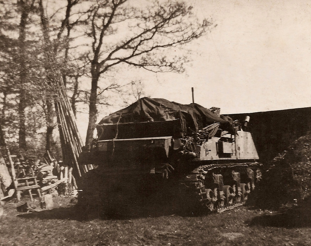 Photographer Leslie Mutten, courtesy of Keith Brooker from his collection. This was Leslie Mutten's ARV Sherman.
