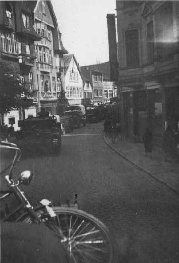 Entering Itzenhoe, complete with liberated bicyle. Photographer David Beaven courtesy of Ian Beaven.