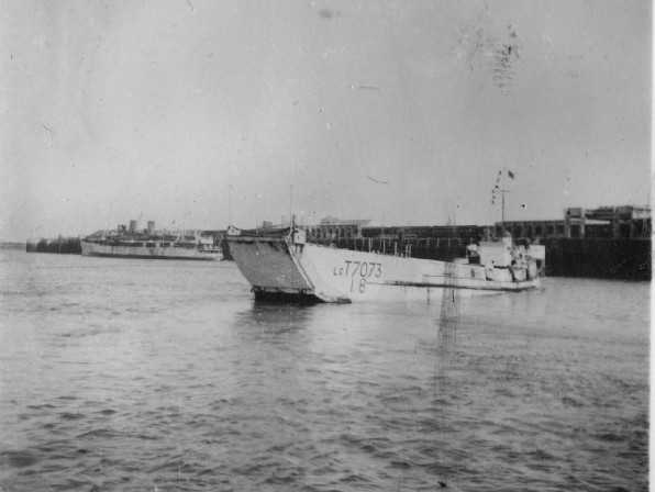 LCTs at anchor in the Port of Felixstow, 2 days before D-Day, June 1944. Photographer David Beaven courtesy of Ian Beaven.