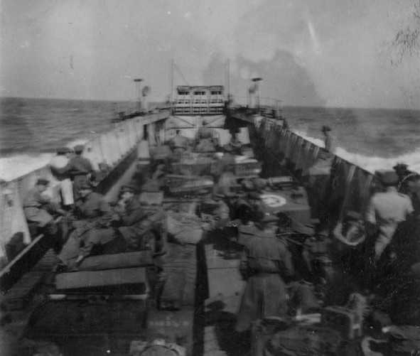 Brigade LCT crossing the Channel on 6th June 1944. Photographer David Beaven courtesy of Ian Beaven.