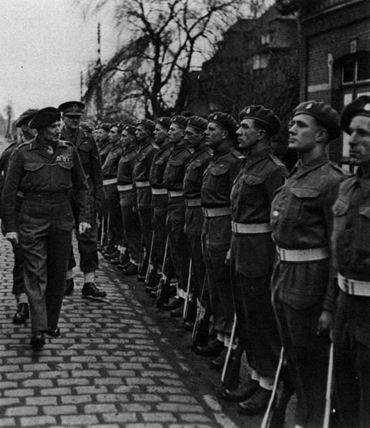 The men of 3rd RHA being inspected by Montgomery in 1945