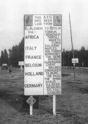 Sign Post outside Divisional HQ in Germany 1945, showing the engagements fought by the Division