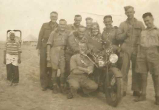 Probably 41 Bty, 15th LAA Regt. Picture courtesy of Alf and Ray Parish. NB The number 2 on the motorcycle denotes it belonging to the Battery Orderly.