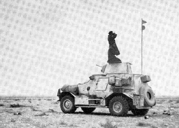 Armoured Car of 4th SA ACR on Observation in the desert
