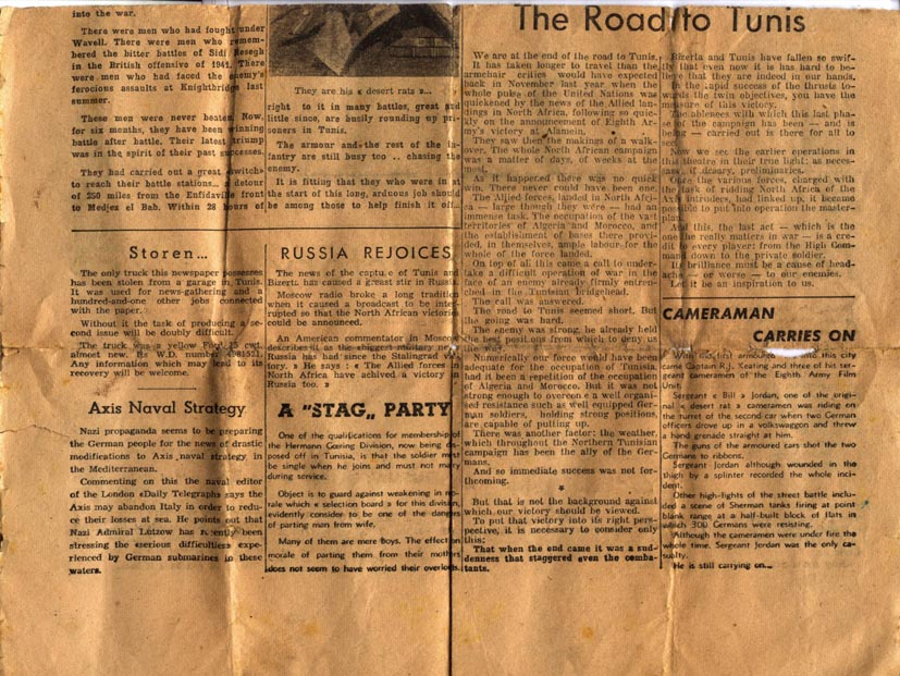 Lower section of Back Page Tunis Telegraph May 1943