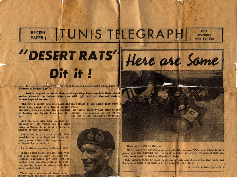 Top section of Back Page Tunis Telegraph May 1943