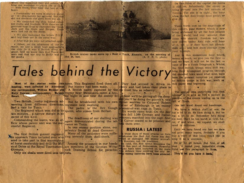 Lower Section of Front Page Tunis Telegraph May 1943