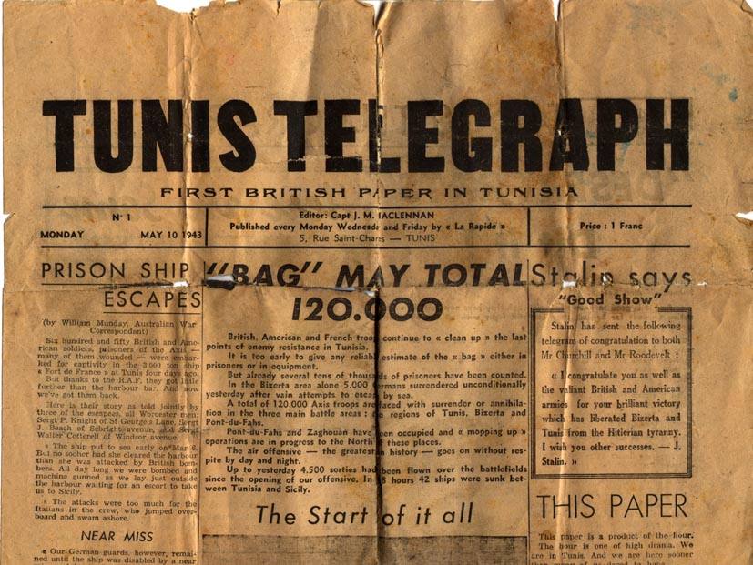 Top Section of Front Page Tunis Telegraph May 1943