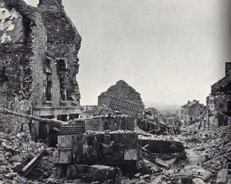 One of Wittman's Tigers in the ruins of Villers-Bocage after its liberation in August 1944
