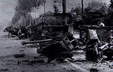 Wreck vehicles and 6 pdr of 1st Rifle Brigade at Pt 213