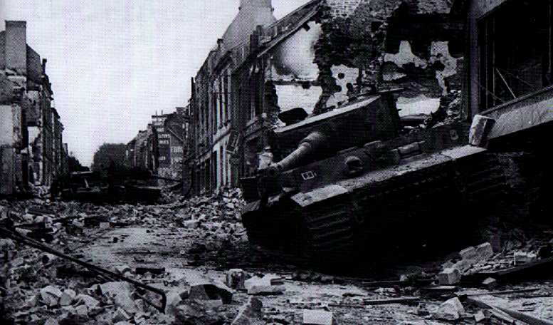 Wrecked Tigers and Panzer IV in the town